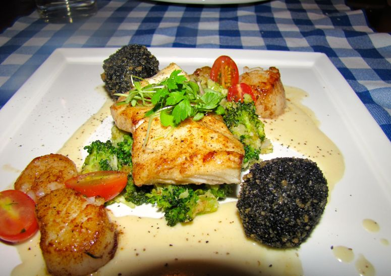 pan seared turbot with a lemon Chardonnay seafood sauce, spicy broccoli and potato croquettes