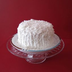 Finished cake top with coconut