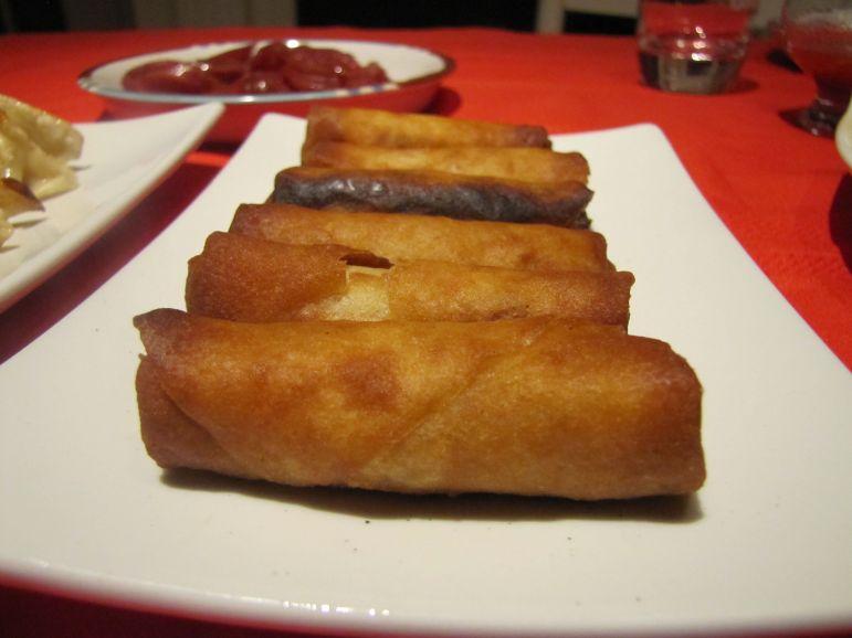 Pre-made shrimp spring rolls.