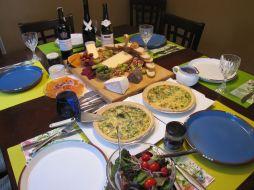 Pancetta, gruyere, spinach and mushroom quiche.