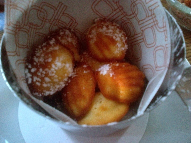Warm Madeleines, baked to order.