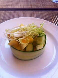 Cucumber, mango salad with apples.