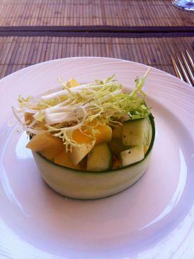 Cucumber, mango salad with apples.