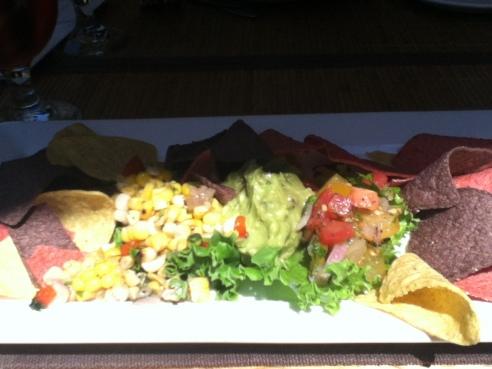 Fresh salsa, guacamole and nachos.