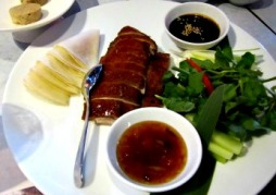 Luckee Duck with Chinese pancakes, apple, cucumber, leek & cranberry relish 27 with 5 spice torchon of foie gras