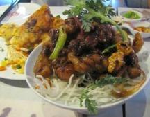 Spicy Bang Bang Chicken steamed chinese pancakes, celery, lap cheung, king mushrooms, preserved radish, jicama, tofu & green beans